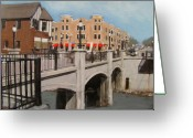 Street Lamps Greeting Cards - Tosa Village Bridge Greeting Card by Anita Burgermeister
