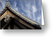 National Treasure Greeting Cards - Toshodai-ji Temple Roof Gargoyle - Nara Japan Greeting Card by Daniel Hagerman