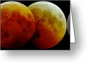 Lunar Eclipse Greeting Cards - Total Lunar Eclipse, Montage Image Greeting Card by Laurent Laveder