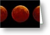 Lunar Eclipse Greeting Cards - Total Lunar Eclipse, Montage Image Greeting Card by Pekka Parviainen