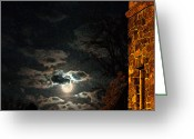 Moon With Bats Greeting Cards - Totally Gothic Draculas Castle with the Super Moon Greeting Card by John Haldane