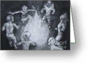 Fire Pastels Greeting Cards - Totem Dancers - Channeling the Spirits Greeting Card by Samantha Geernaert