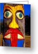 Face Greeting Cards - Totem pole with tongue sticking out Greeting Card by Garry Gay