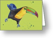 Yellow Beak Painting Greeting Cards - Toucan - tropical bird Greeting Card by Alison Fennell