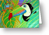 Red-eyed Frogs Greeting Cards - Toucan and Red Eyed Tree Frog Greeting Card by Nick Gustafson
