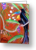 Fantasy Bird Pastels Greeting Cards - Toucanwine Bird Greeting Card by Jo Hoden