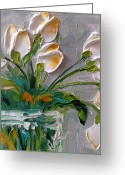 Chic Greeting Cards - Touch of Amber Tulips Greeting Card by Jan Ironside
