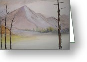 Pine Trees Painting Greeting Cards - Touch Of Snow Greeting Card by Ginny Youngblood