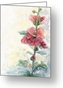 Fushia Painting Greeting Cards - Touch of Summer Hollyhocks Greeting Card by CheyAnne Sexton