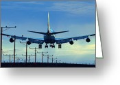 Touchdown Greeting Cards - Touchdown in Blues Greeting Card by Fraida Gutovich