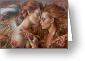 Angel Painting Greeting Cards - Touched by Angel Greeting Card by Arthur Braginsky
