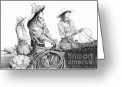 Cowboy Sketches Greeting Cards - Tough Ladies Greeting Card by Jack Schilder
