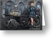 Steampunk Digital Art Greeting Cards - Tough Lady Greeting Card by Jutta Maria Pusl
