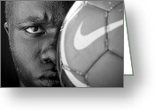 Player Greeting Cards - Tough Like a Nike Ball Greeting Card by Val Black Russian Tourchin