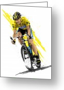 Tour De France Greeting Cards - Tour de Lance Greeting Card by David E Wilkinson
