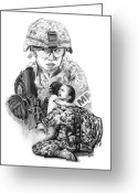 Charcoal Greeting Cards - Tour of Duty - Women in Combat LE Greeting Card by Peter Piatt