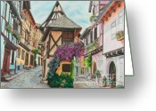 Munich Greeting Cards - Touring in Eguisheim Greeting Card by Charlotte Blanchard