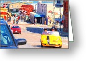Vehicles Digital Art Greeting Cards - Touring San Fracisco Fishermans Wharf In An Electric Gocar . 7D14100 Greeting Card by Wingsdomain Art and Photography