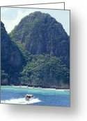 Tropical Island Greeting Cards - Tourist Speed Boats Anchored Greeting Card by Jason Edwards