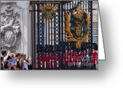 Photographs With Red. Greeting Cards - Tourists at Changing of the guards Greeting Card by Andrew  Michael
