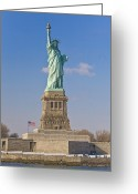 National Flag Greeting Cards - Tourists At The Statue Of Liberty Greeting Card by Mike Theiss