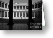 Silhouettes Of Famous People Greeting Cards - Tourists inside a courtyard at the Palace of Charles V at Alhambra Greeting Card by Sami Sarkis