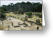 Latium Region Greeting Cards - Tourists On The Grounds Of The Forum Greeting Card by O. Louis Mazzatenta