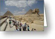African Heritage Photo Greeting Cards - Tourists View The Great Sphinx Greeting Card by Richard Nowitz