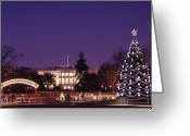 Christmas Trees Greeting Cards - Tourists Visit The White House, Decked Greeting Card by Kenneth Garrett