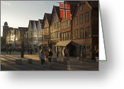 Tourists And Tourism Greeting Cards - Tourists Walking In A Street In Bergen Greeting Card by Michael Melford