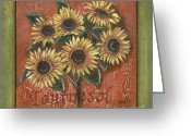 Leaf Painting Greeting Cards - Tournesol Greeting Card by Debbie DeWitt