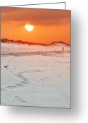Orange Reliefs Greeting Cards - Toward the Sunrise Greeting Card by Vicki Jauron