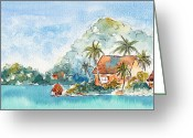 South Seas Greeting Cards - Towards Raititi Point Greeting Card by Pat Katz