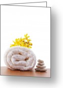On White Greeting Cards - Towel Roll Greeting Card by Atiketta Sangasaeng