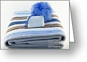 Body Scrub Greeting Cards - Towel with soap and sponge Greeting Card by Blink Images