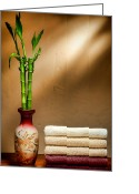 Brown Tones Photo Greeting Cards - Towels and Bamboo Greeting Card by Olivier Le Queinec