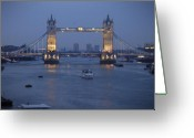London England  Digital Art Greeting Cards - Tower Bridge - England Greeting Card by Mike McGlothlen