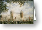 Great Painting Greeting Cards - Tower Bridge - From the Tower of London Greeting Card by Richard Willis 