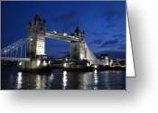Bridge Greeting Cards - Tower Bridge Greeting Card by Amanda Barcon