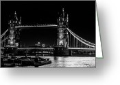 Night Shots Greeting Cards - Tower Bridge and Barges Greeting Card by Dawn OConnor