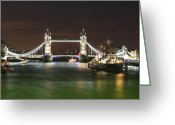 Warship Greeting Cards - Tower Bridge and HMS Belfast at night Greeting Card by Jasna Buncic