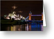 Night Shots Greeting Cards - Tower Bridge and HMS Belfast Greeting Card by Dawn OConnor