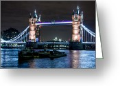 Night Shots Greeting Cards - Tower Bridge and London Barges Greeting Card by Dawn OConnor