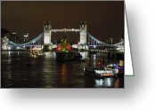 Tower Bridge Pyrography Greeting Cards - Tower Bridge by Night Greeting Card by Sean Foreman
