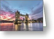 Illuminated Greeting Cards - Tower Bridge Greeting Card by Conor MacNeill