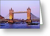 Flags Greeting Cards - Tower bridge in London at dusk Greeting Card by Elena Elisseeva