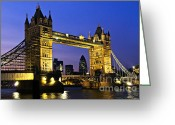 Gothic Arch Greeting Cards - Tower bridge in London at night Greeting Card by Elena Elisseeva