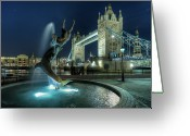 Illuminated Greeting Cards - Tower Bridge In London Greeting Card by Vulture Labs