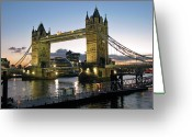 Suspension Bridge Greeting Cards - Tower Bridge, London Greeting Card by Anik Messier