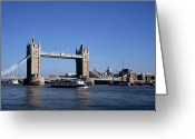 Nautical Vessel Greeting Cards - Tower Bridge, London Greeting Card by Lothar Schulz